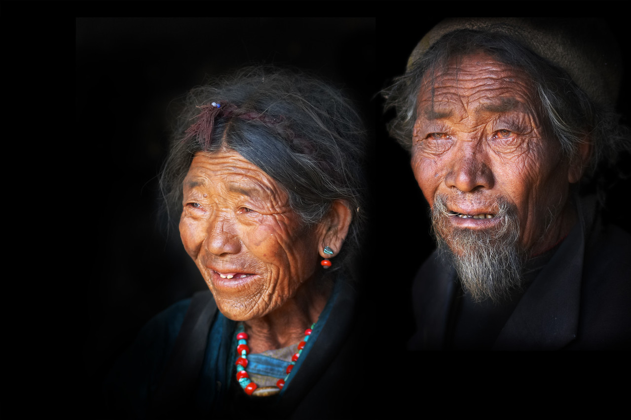 Together for life.  A husband and wife in a small Tibetan village.  This is a composite of the two individual photos .