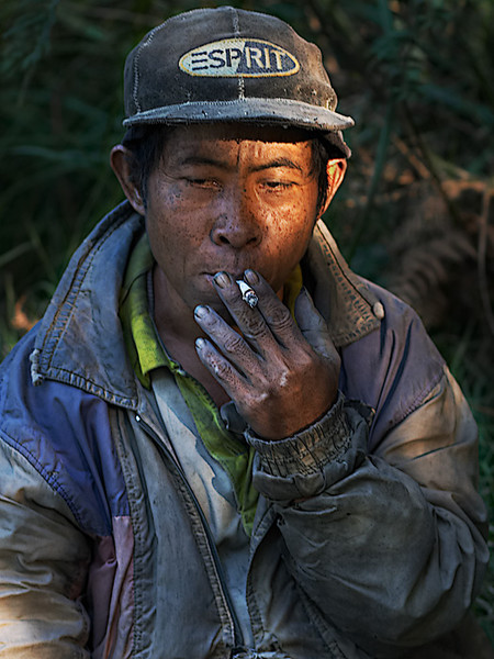 Smoko.  A miner from Kawa Ijen enjoying a well deserved break