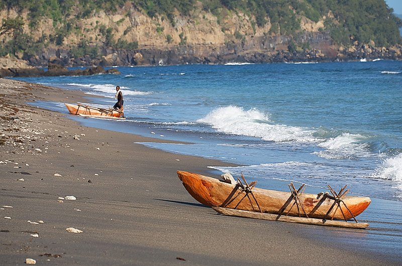 Dugout canoe on beach